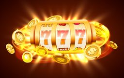 Golden slot machine with flying golden coins wins the jackpot. Big win concept. Vector illustration royalty free illustration