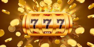 Golden slot machine with flying golden coins wins the jackpot. Big win concept. Vector illustration stock illustration