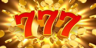 Golden slot machine 777 with flying golden coins wins the jackpot. Big win concept. Vector illustration vector illustration