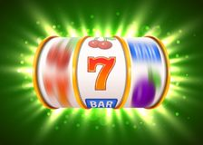 Golden slot machine with flying golden coins wins the jackpot. Big win concept. Vector illustration Stock Image
