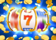 Golden slot machine with flying golden coins wins the jackpot. Big win concept. royalty free illustration