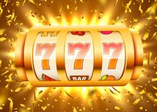 Golden slot machine with flying golden confetti wins the jackpot. Big win concept. Vector illustration stock illustration