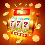 Vector realistic slot machine casino jackpot. Golden slot machine with handle, triple seven 777 lucky numbers with golden conis, win. 3d Casino and jackpot Stock Photos