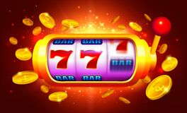 Golden Slot Machine with Moving Icons Vector vector illustration