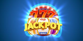 Golden slot machine wins the jackpot. Big win concept. Casino jackpot. Vector illustration royalty free illustration