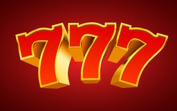 Golden slot machine 777 wins the jackpot. Big win concept. Vector illustration stock illustration