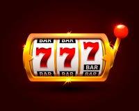Golden slot machine wins the jackpot. Isolated on background . Vector illustration Stock Photo