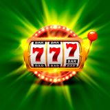 Golden slot machine wins the jackpot. Isolated on green background . Vector illustration Stock Image