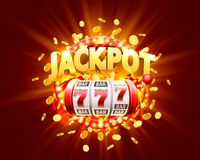 Golden slot machine wins the jackpot. Isolated on red background. Vector illustration royalty free illustration