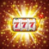 Golden slot machine wins the jackpot. stock illustration