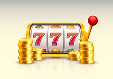 Golden slot machine wins the jackpot. Piles of gold coins. Vector illustration isolated on white background royalty free illustration