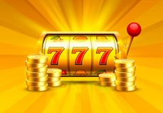 Golden slot machine wins the jackpot. Piles of gold coins. Vector illustration isolated on white background stock illustration