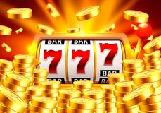 Golden slot machine wins the jackpot. vector illustration