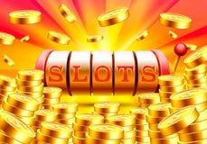 Golden slot machine wins the jackpot. Royalty Free Stock Image