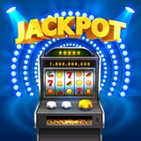 Golden slot machine wins the jackpot. On red background. Vector illustration Stock Photography