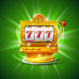 Golden slot machine wins the jackpot.  on green background. Vector illustration Royalty Free Stock Photography