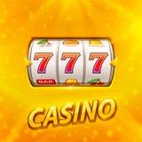 Golden slot machine wins the jackpot. Isolated on gold background . Vector illustration vector illustration