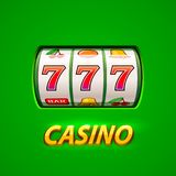 Golden slot machine wins the jackpot. Isolated on green background. Vector illustration royalty free illustration