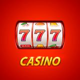 Golden slot machine wins the jackpot. Isolated on red background . Vector illustration stock illustration