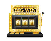 Golden slot machine wins the jackpot. lucky seven in gambling game Isolated on white background. Casino big win slot Royalty Free Stock Images