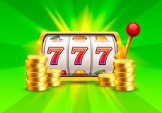 Golden slot machine wins the jackpot. Piles of gold coins . Vector illustration isolated on green background royalty free illustration