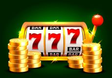 Golden slot machine wins the jackpot. Piles of gold coins . Vector illustration isolated on green background Royalty Free Stock Photography