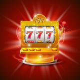 Golden slot machine wins the jackpot.  on red background. Vector illustration Royalty Free Stock Images