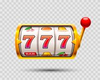 Golden slot machine wins the jackpot. Royalty Free Stock Photo