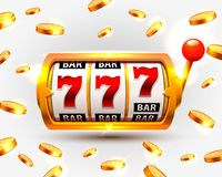 Golden slots machine wins the jackpot. Vector illustration isolated on white background. Vector illustration vector illustration