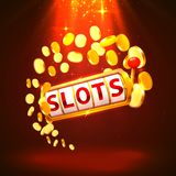 Golden slots machine wins the jackpot. Vector illustration isolated on white background. stock illustration