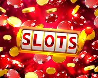 Golden slots machine wins the jackpot. royalty free illustration