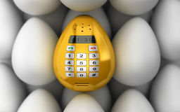 Golden smart phone or mobile phones like Easter egg. Concept. Ual  3d illustration Royalty Free Stock Images