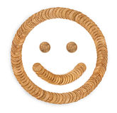 golden smile from coins Stock Image