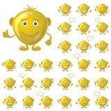 Golden Smileys, Set Royalty Free Stock Photography