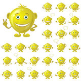 Golden Smileys, Set. Set of Golden Smileys with Hands and Feet, Symbolising Various Human Emotions, Isolated on White Background. Eps10, Contains Transparencies Stock Photo