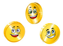 Golden smiling coins Royalty Free Stock Photography