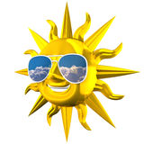 Golden Smiling Sun With Sunglasses Stock Photos