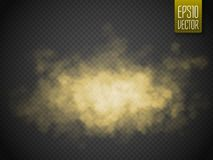 Golden smoke isolated transparent special effect. Vector illustration