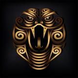Golden Snake head isolated on black background. vector illustration