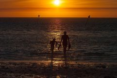 Golden snorkelers. Sunset of heron islands royalty free stock photos