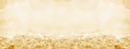 Golden snow, bokeh Christmas panoramic background. Golden snow and bokeh Christmas panoramic background royalty free stock photos