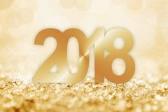 2018 golden snow and bokeh greeting card Royalty Free Stock Photos