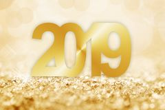 2019 golden snow and bokeh lights greeting card. 2019, golden snow and bokeh lights greeting card royalty free illustration
