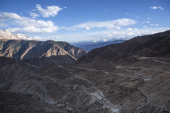 Golden snow-capped mountains in Tibet Royalty Free Stock Photography