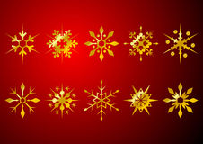 Golden snow crystals Royalty Free Stock Photography