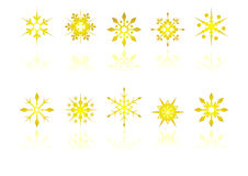 Golden snow crystals Royalty Free Stock Image
