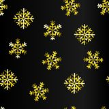GOLDEN SNOW FLAKE ON BLACK BACKGROUND. SEAMLESS VECTOR PATTERN. WINTER HOLYDAY. MERRY CHRISTMAS TEMPLATE. VECTOR ILLUSTRATION. PRESENT WALLPAPER. FUNNY ABSTARCT royalty free illustration