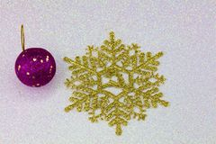 Golden snow flakes Stock Image