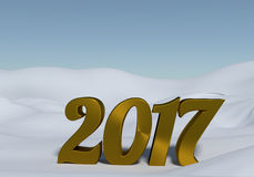 Golden 2017 in snow Royalty Free Stock Image