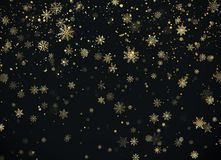 Golden snowfall. Christmas background. New Year and Christmas pattern with golden snowflakes on black background. Vector. Illustration royalty free illustration